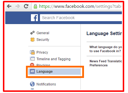 How to Find Your Change Facebook Language Settings Page